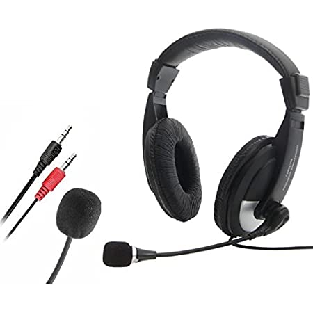 CableVantage Skype Over Ear Headphones with Microphone, Hi-Fi Stereo Foldable Headset with Volume Control, Lightweight Adjustable Wired Headphone for iPhone iPod Laptop PC Computer