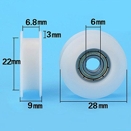 6 * 28 * 9 groef riem katrol, plastic lagerwiel, graveren 3D printer wiel