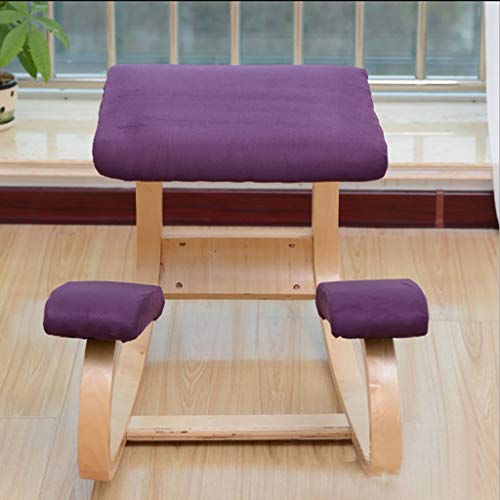 Ergonomic Kneeling Chair, Rocking Posture Wood Stool for Home Office & Desk Chair Improves Blood Circulation Improving Posture Relieving Stress (Color : Purple)