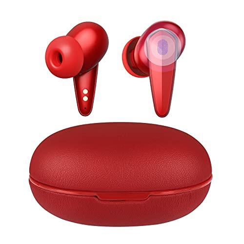 Bluetooth Kopfhörer, ISENPENK Kabellose Kopfhörer in Ear Ohrhörer Wasserdicht Sport Wireless Earbuds mit Touch-Steuerung Mikrofon 35 Std. Laufzeit USB C Tragbar Leder Ladecase für Mädchen Junge - Rot