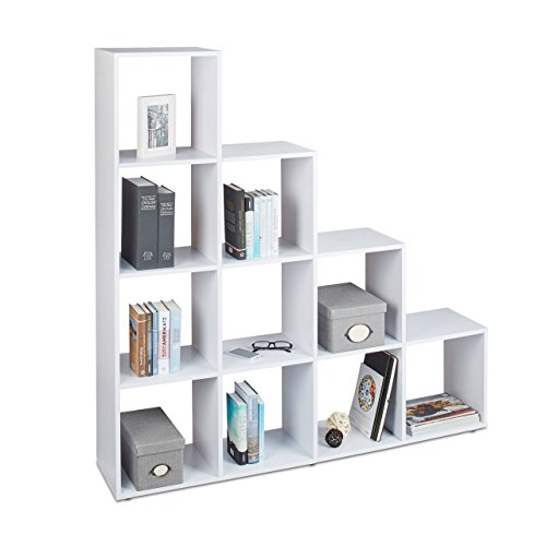 Relaxdays Etagère escalier 10 compartiments bibliothèque escalier armoire séparateur pièce, blanc,141,5 x 137,5 x 29 cm