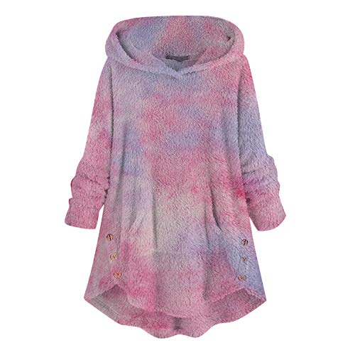 YSLMNOR Tie Dyed Fleece Blouse Womens Asymmetrical Button Hem Hoodie with Pocket Plus Size Tops Hot Pink