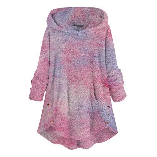 IHGWE Abrigo de felpa para mujer para otoño e invierno, corbata teñida, abrigos de mujer, de manga larga, cálido, abrigo de moda con capucha rosa M