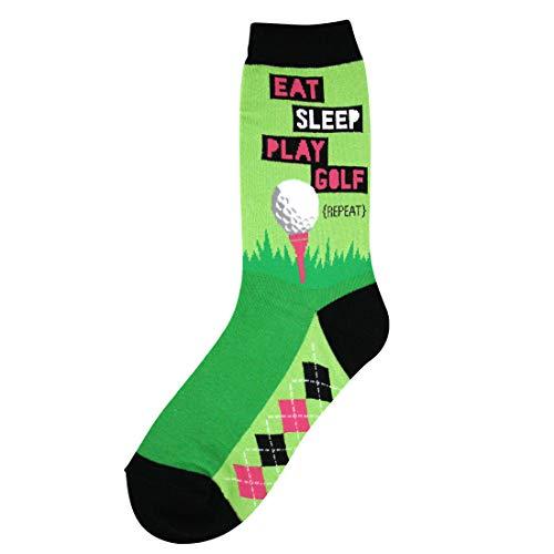 Foot Traffic, Women's Sports-Themed Socks, Eat Sleep Golf (Shoe Sizes 4-10)