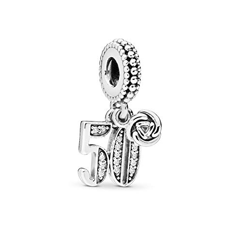 FGT 50th Celebration Dangle Charm for Pandora Bracelet Anniversary 50 Birthday Charm Silver Letter Number Charm Gift for Women