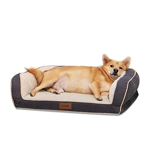 EMME Dog Bed for Small, Medium and Large Dogs Orthopedic Dog Beds with Plush Foam Mattress Joint Relief Washable & Removable Cover Deluxe Dog Couch Sofa Style Pet Bed (Grey, Small)