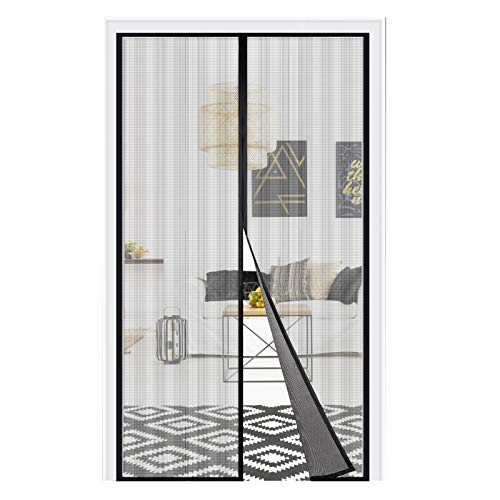 "Magnetic Screen Door, Adoric Upgraded Door Screen Magnetic Closure, Fiberglass Mesh Curtain with Full Frame Hook & Loop Fits Doors Size up to 37"" x 82"""