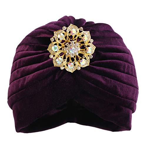 yhdcc44 Herbst Winter weiblicher Kopf, Schal Mütze weich warm lässig Indien Afrika muslimische Mütze (PL)