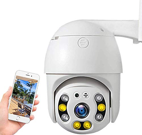PTZ Camera wifi 1080P, IP Camera 355° Pan/90° Tilt, Sensore di Movimento, Interfono Vocale Bidirezionale, 30M Visione Notturna, IP66 Impermeabile, Allarme AI