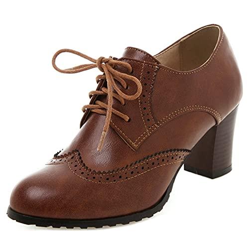 FitWee Vintage Primavera Zapatos Low Top Block Tacón Medio Mujer Brogues Wingtip Oxford Zapatos Cordones Muchachas Colegio Zapatos Patent Marrón Numero 37 Asian