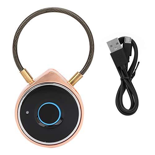 Candado con huella digital, candado de seguridad recargable USB, con viga de acero extensible, indicador luminoso LED y aviso sonoro