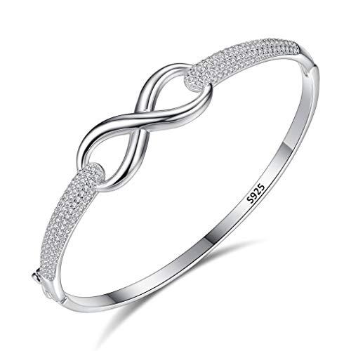 Clearine Damen 925 Sterling Silber Hochzeit Braut Cubic Zirconia Aushöhlen Figur 8 Bangle Armband Armreif Klar