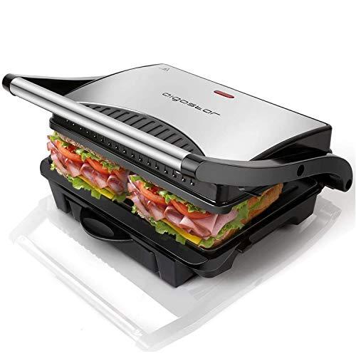 Aigostar Hett 30HHJ - Panini Maker/Griglia, Pressa a sandwich, Griglia elettrica, 1000 Watt, Fredda al tocco, Antiaderente, Indicatore luminoso, Argento. Design esclusivo.