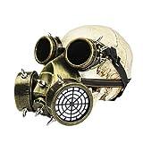 PRETYZOOM Máscara de Gas de Halloween Transpirable Punk Steampunk Máscara Y Gafas Cosplay Disfraz para Mascarada Halloween Dorado (no Skull)