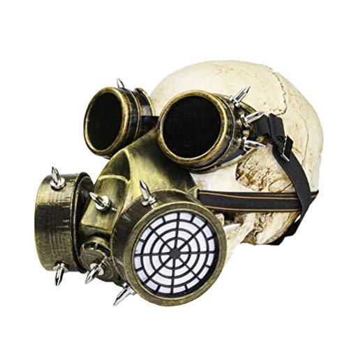 PRETYZOOM Mscara de Gas de Halloween Transpirable Punk Steampunk Mscara Y Gafas Cosplay Disfraz para Mascarada Halloween Dorado no Skull