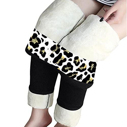 feftops Leopardo Leggings Térmicos Mujer Grueso Invierno Actividades Leggings de Cintura Alta Elásticos Yoga Talla Grande Elasticidad Caliente-354