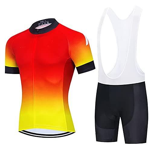 LSZ Traje De Ciclismo para Hombre, Camisa De Bicicleta De Manga Corta De Secado Rápido Transpirable Profesional y Pantalones Cortos Acolchados Traje De Ropa De Bicicleta MTB