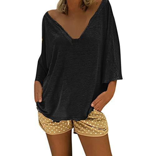 Camisetas Mujer Verano Moda Camiseta Suelta Manga Larga Cuello en V Color sólido Sexy Camisa Suelta Vestido Blusa Casuales Moda Tops t-Shirt riou