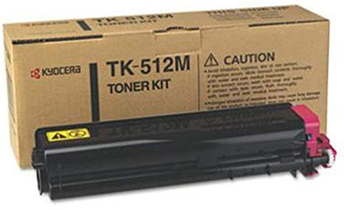 Kyocera 1T02F3BUS0 Model TK-512M Magenta Toner Kit For use with Kyocera ECOSYS FS-C5020N, FS-C5025N and FS-C5030N Laser Printers; Up to 8000 Pages Yield at 5% Average Coverage