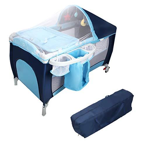 DREAMADE Babybett Babywiege, Stubenwagen mit Rollen, Babyschaukel Klappbar, Reisebett Kinderbett, Baby-Reisebett Kinderreisebett mit Moskitonetz, max.15KG belastbar (Blau)
