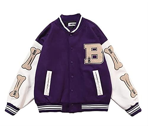 Chaqueta de primavera al aire libre cortavientos de moda, abrigo de ropa de trabajo Softshell para hombres, chaquetas de béisbol ligeras para equipos universitarios ( Color : Purple , Size : XL )