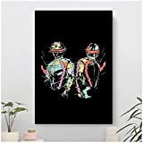 GZSBYJSWZ Daft Punk Music Soldiers Glitch Remix Canvas Painting Cuadros Wall Art Picture For Living Room Decoration-50X75Cmx1フレームなし
