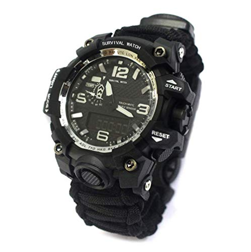 SGSG Outdoor Survival Watch Handgestrickte Camouflage 6-in-1-Multifunktions-Survival-Überlebensuhr wasserdichte Digitale Digitaluhr für Herren, D.
