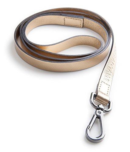 Original Lanyards® FOIL Leash Laisse en cuir véritable pour chien 120 cm de long et 1,5 cm de large Fabriqué au Portugal Or 120 cm de long