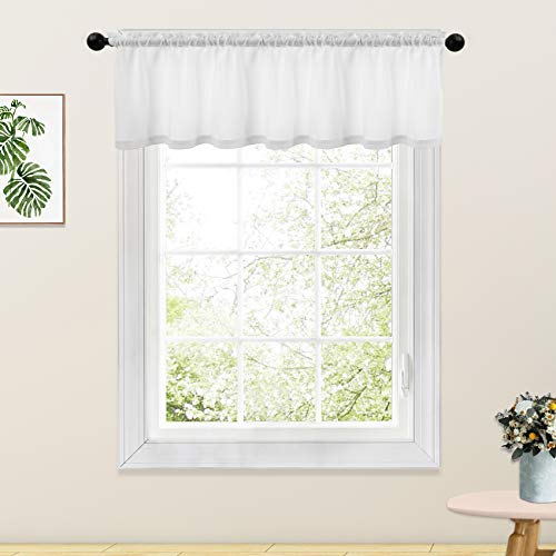 White Valance Curtains 18 inches Long Linen Textured Curtain Valance Living Room Short Small Bedroom Window Curtain Valances Rod Pocket 1 Panel