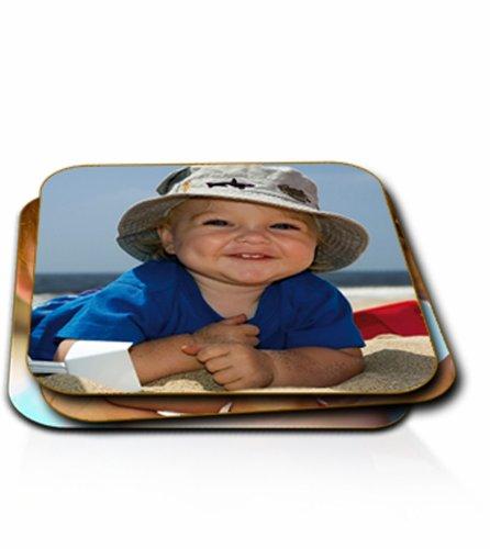 Foto-Untersetzer, personalisiert, rund / eckig, einzeln oder in einem Satz, holz, Set of Six, Square Coaster