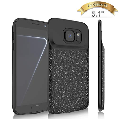 Elebase Galaxy S7 Battery Case,4700mAh Portable External Backup Charging Pack,Rechargeable Impact Resistant Extended Power Charger Case Compatible Samsung Galaxy S7(Not for Galaxy S7 Edge) (Black)