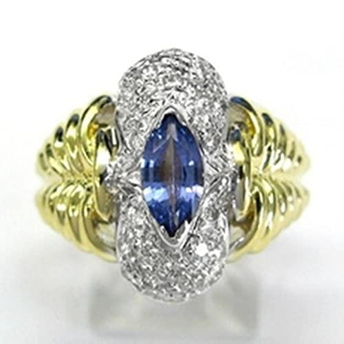 CXWK Joyería Retro Vintage para Mujer, Corte de Princesa, Diamantes de imitación Amarillos, propuesta Antigua, Anillos de Regalo, Banda de Boda Nupcial, tamaño 5-12