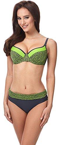Merry Style Style Conjunto Bikini Push-Up Sujetador y Bragas 2 Piezas Mujer MSVR726 (Grafito/Verde, 38)