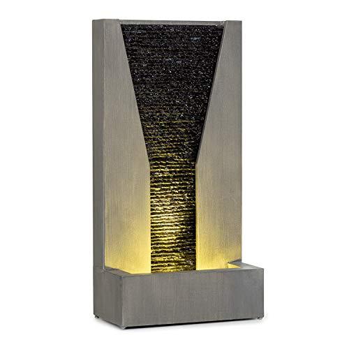 blumfeldt Riverrun Fuente de jardín - Bomba de 12 W/ 800 l/h / IPX8, Fuente Decorativa, para Interior y Exterior, Circuito Cerrado de Agua, Cable de 10 m de Largo, Luz Ambiental, Estética de hormigón