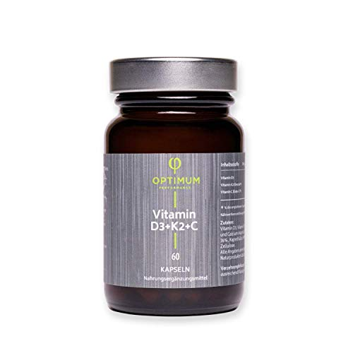 Optimum Performance Natürliche Vitamin D3 K2 Kapseln mit Ester C für 2 Monate I 60 D3K2 Kapseln Hochdosiert I Bio Vitamin K2 km7 all-trans