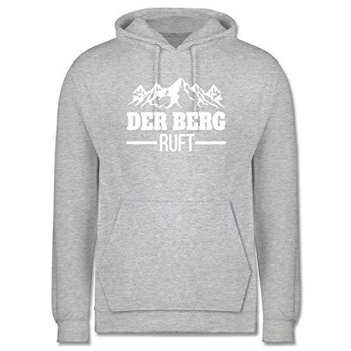 Après Ski - Der Berg Ruft - weiß - S - Grau meliert - Wanderung - JH001 - Herren Hoodie und Kapuzenpullover für Männer