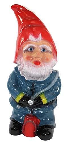 Gartenzwerg Deko Garten Figur Zwerg Feuerwehrmann stehend mit Löschschlauch aus Kunststoff H 46 cm