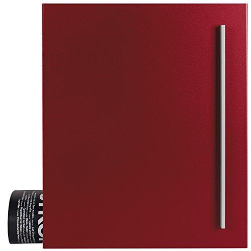 Design-Briefkasten mit Zeitungsfach purpur-rot (RAL 3004) MOCAVI Box 110 Postkasten mit Zeitungsrolle Wand-Briefkasten mit Zeitungsrolle modern, rostfrei, wetterfest, deutsche Markenqualität