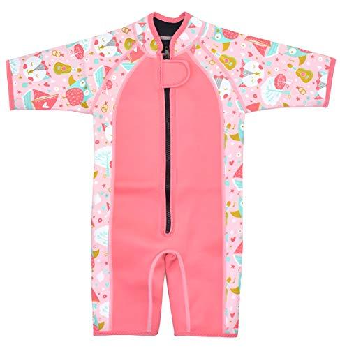 Splash About Kids Shorty Wetsuit Traje de Neopreno Corto para niños, Infantil, El búho y el Gatito, 2-4 años