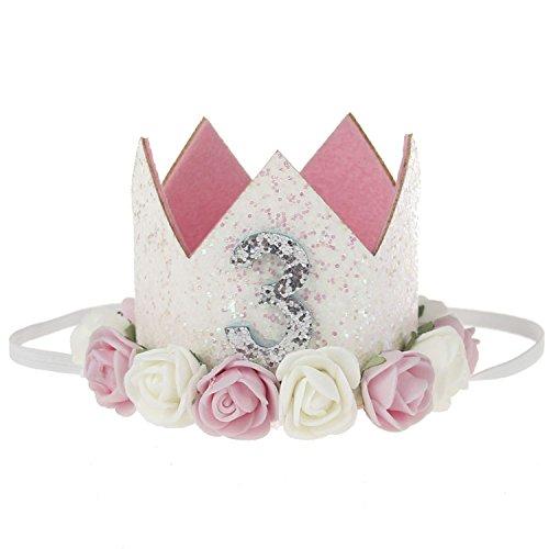 COUXILY 1 STK Geburtstag - Krone Stirnbänder Baby Birthday Tiara Mädchen Glänzend Krone Geschenksets Haarband (FS03)