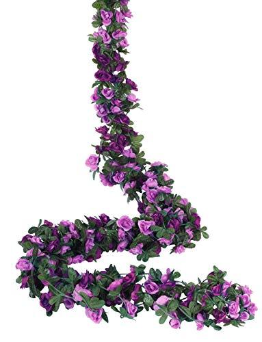 Molliy 6 Pack 49.2 FT Fake Rose Vine Flowers Plants Artificial Flower Hanging Rose Ivy Home Hotel Office Wedding Party Garden Craft Art Décor Purple