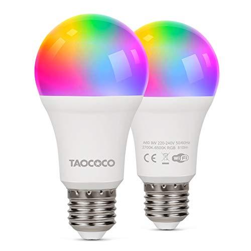 FREDI Smart LED Lampe 2er Pack WLAN Glühbirnen Mehrfarbige Dimmbare LED Glühbirne 9W E27 RGB Lampe mit Alexa und Google für Haus Dekoration, Bar, Party, KTV Bühne, Bettlampe [Energieklasse A+]