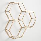 Gold and Glass Honeycomb Wall Shelf | World Market
