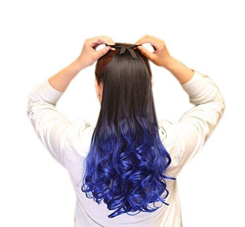 Highlight long Ponytail Extension pour les femmes, bleu royal