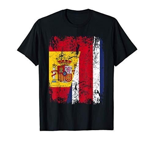 COSTA RICA ESPAÑA BANDERA de la AMISTAD COSTA RICA Camiseta