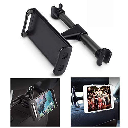 Lidasen Car Tablet Holder,Car Headrest Mount : Universal 360 Rotating Car Seat Stand Cradle for All 4.4~11' Tablets,Pad Pro 9.7, 10.5,Air mini,Nintendo Switch,Tab,Mobile Phones (Black)