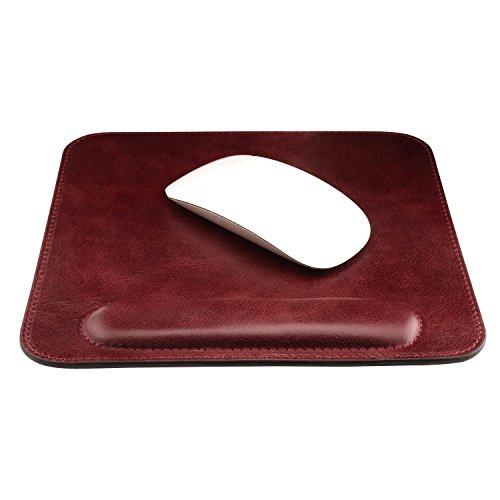 Londo Genuine Leather Mouse pad with Wrist Rest, Damson