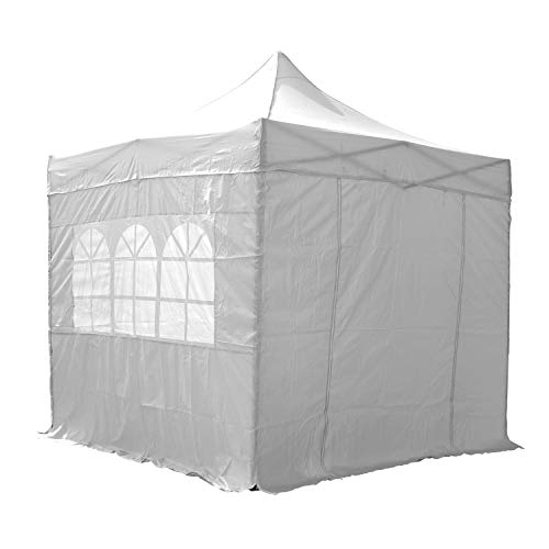 AIRWAVE Gazebo Four Seasons Essential Pop Up with Sides Waterproof 2.5 x 2.5m (White)