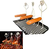 YWSM Hot Dog/Marshmallow Roasters, Stainless Steel Hot Dog & Marshmallow Roasting Sticks,Hotdog Boy Man and Marshmallow Girl Woman Roaster Cooker Campfire Skewer (3 Hot Dog Guys)