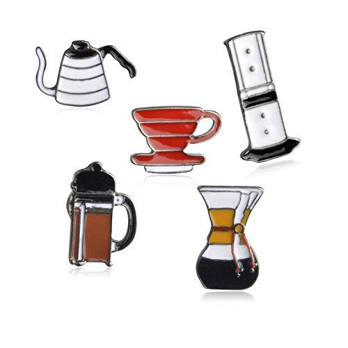 FULAISI Broschennadel-Set, 5 Stück, schöne Kaffeetassen-Reihe, Muster, emailliert, Anstecknadeln für Frauen und Mädchen, Kleidung, Taschen, Dekoration